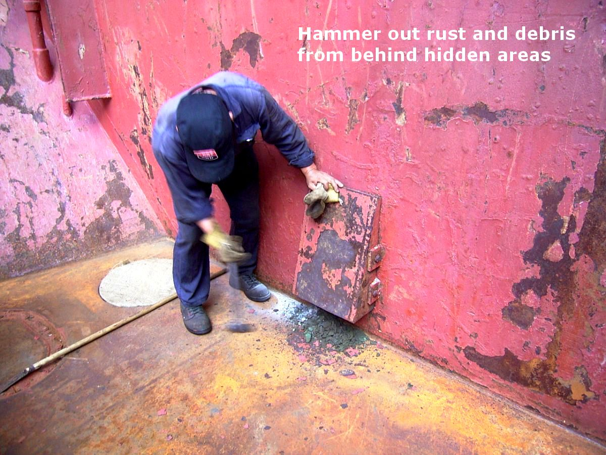 hammer out  rust and debris from hidden areas